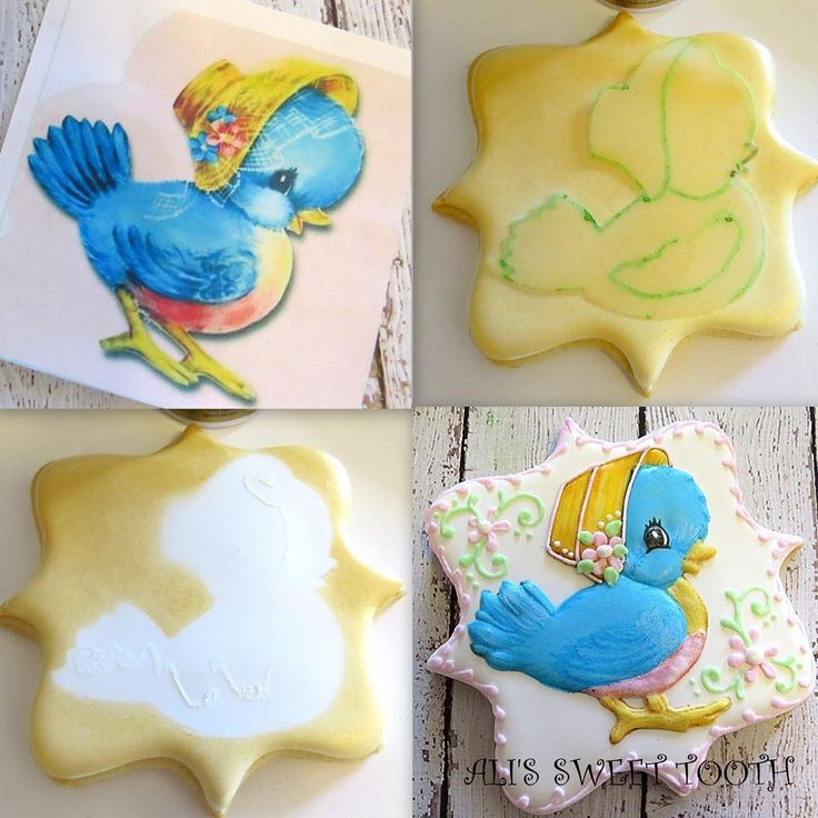 Ali's Sweet Tooth Duck Tutorial: An option for making cookies without a Kopykake. If you want to use a stencil base, spray it first, then trace your cutout with an edible marker.