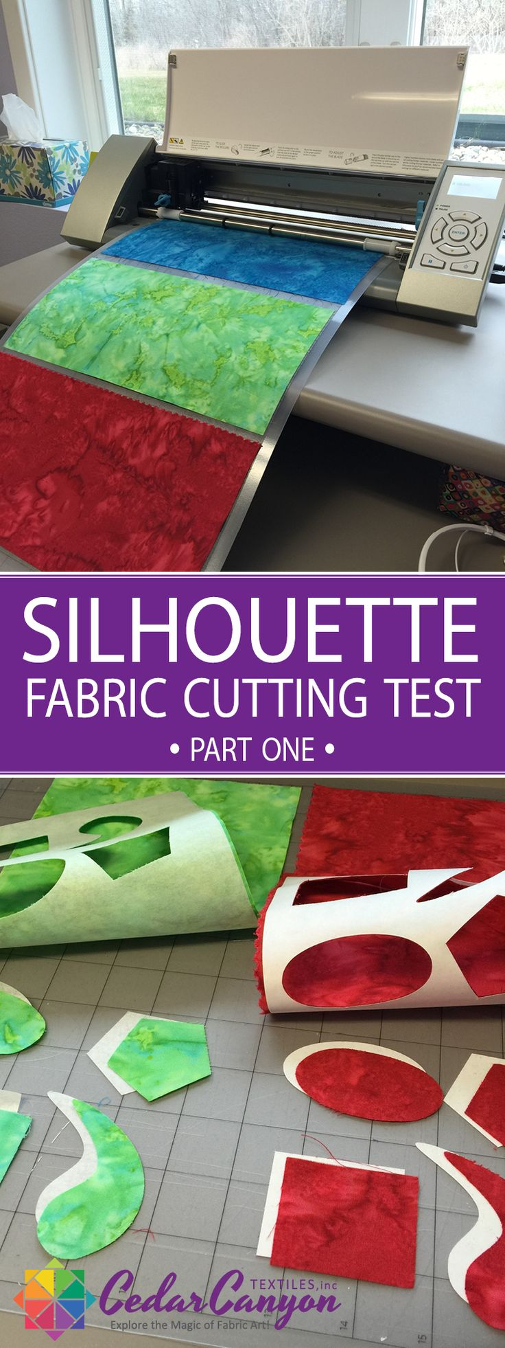 Two options for cutting fabric with a Silhouette Cameo cutter – without adding fusible web or fabric stiffener.