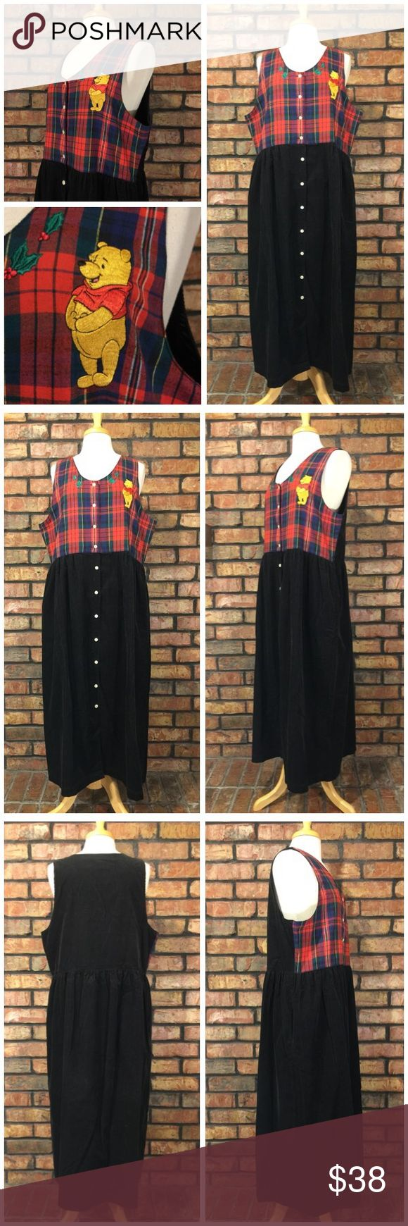 """Winnie The Pooh Plaid Corduroy Long Jumper Dress Please Read Full Description and View All Pictures  Size: XL (see measurements below)  Buttons up front, pockets  Gently used. No rips, stains, or tears. Smoke free home.  Measurements are taken with garment laying flat:  Bust: 22""""  Waist: 20""""  Length: 50"""" Disney Dresses"""