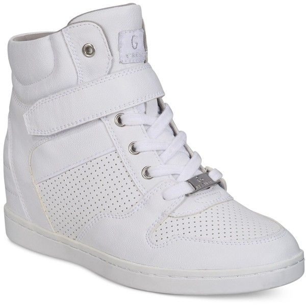 G by Guess Doxin High-Top Sneakers ($69) ❤ liked on Polyvore featuring shoes, sneakers, white, hi tops, white hi tops, hidden wedge sneakers, g by guess shoes and high top shoes