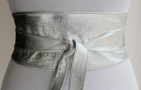 Silver Leather Obi Belt Silver Belt Bridesmaid by LoveYaaYaa