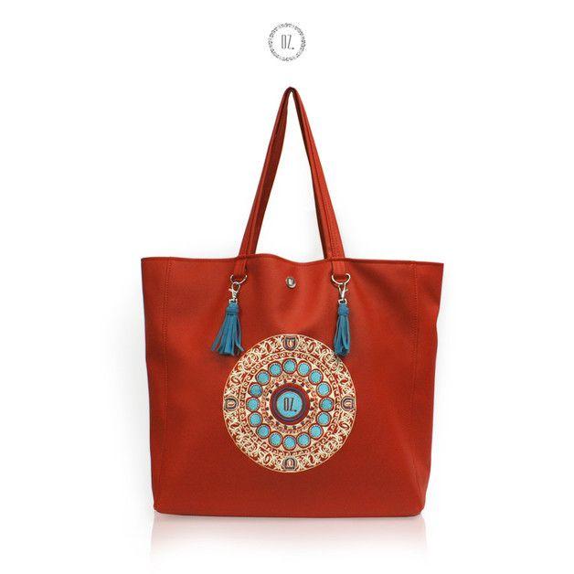 Torba OCEAN MANDALA RED XL - shopper etno - Bags-of-OZ - Torby na ramię