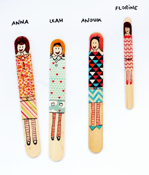 Bastelset aus Holzstäbchen und Maskingtape für Kinder / diy kit for kids, wooden sticks and masking tape by FrauFroh via DaWanda.com