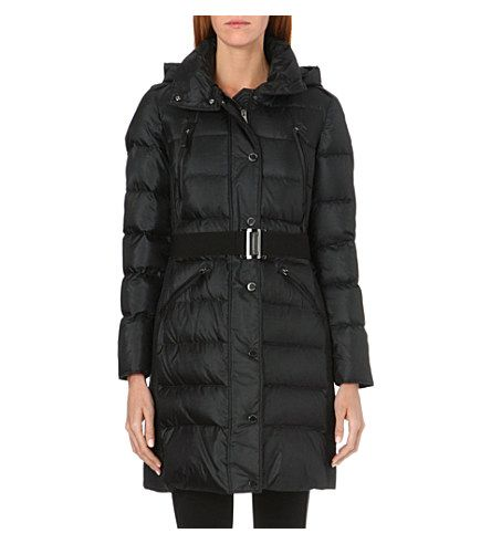 BURBERRY Hooded quilted coat (Black