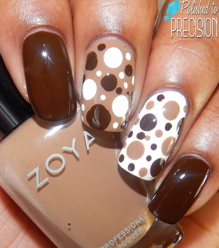 Dots #dotticure nail art - Brown & White