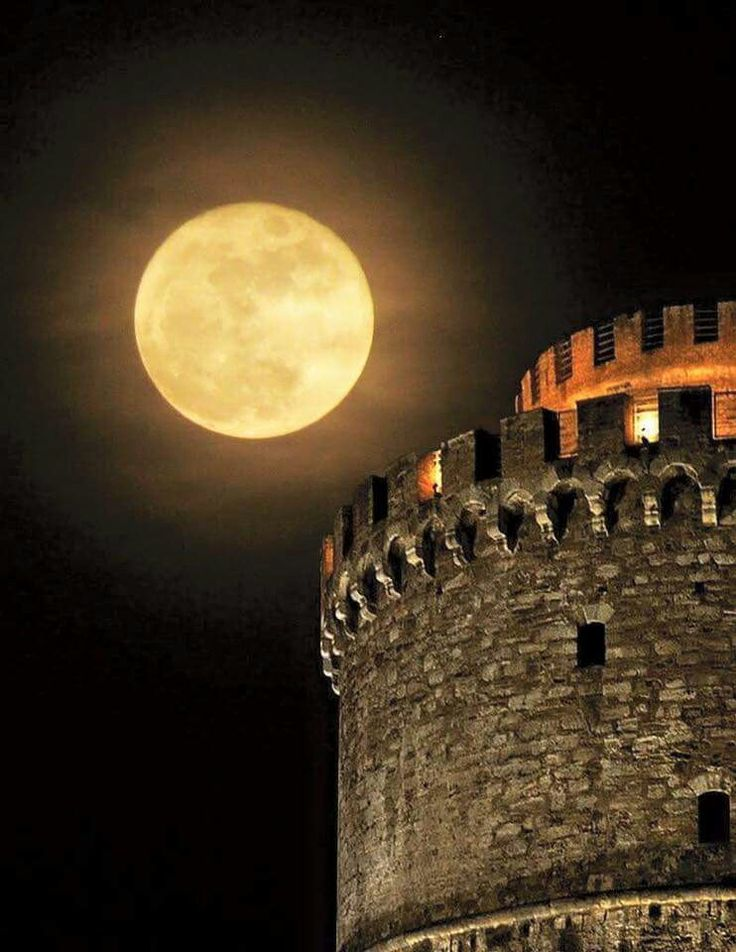 Moonlight at the White  Tower in Thessaloniki..
