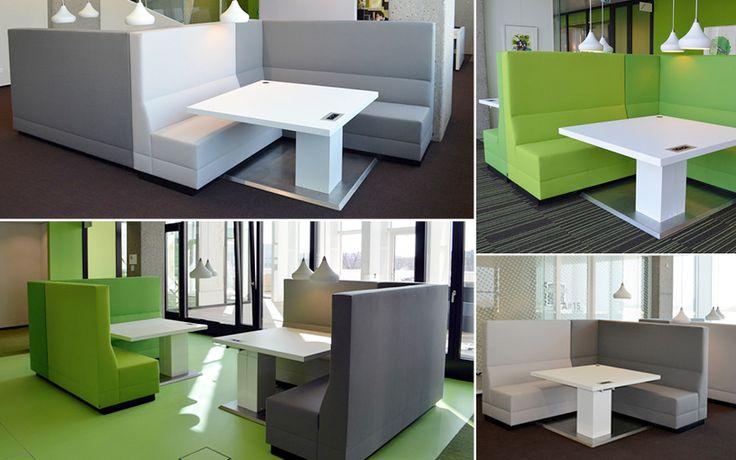 De loungewerkplek, ook geschikt om langdurig in te werken door de verstelbare tafel en zitplek
