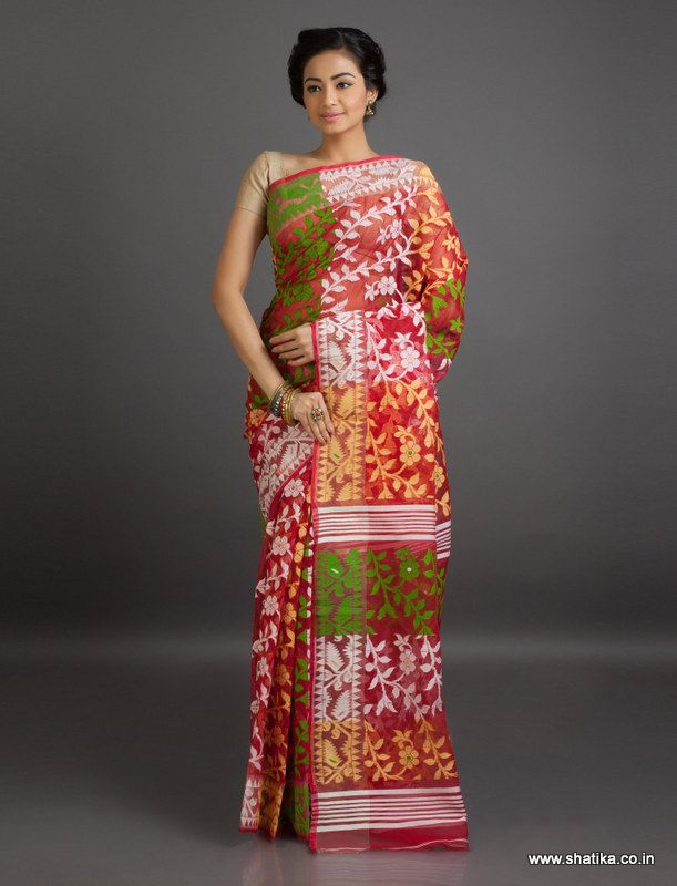 Bela Bels in Tri Color Translucent Fine #JamdaniCottonSaree