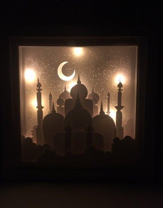 Ramadan Paper Art Light Shadow Box 3d Papercut Light Box 3d Ramadan Lantern Ramadan Lantern Ramadan Decorations Shadow Box Art