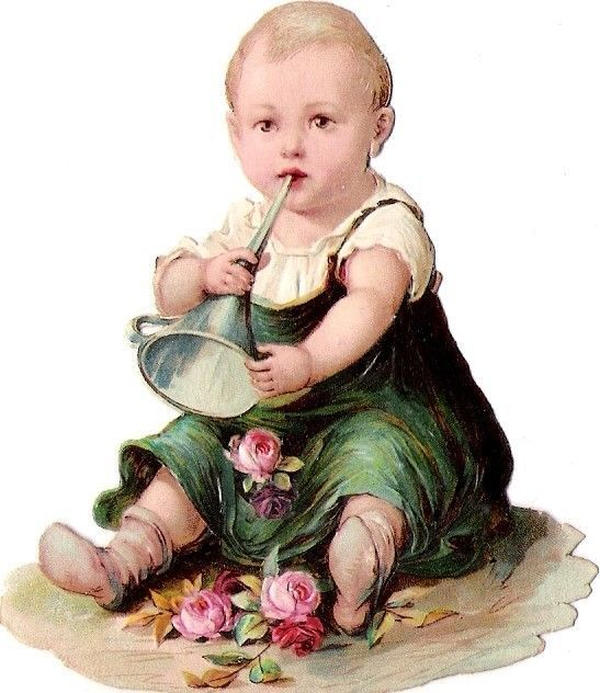 Oblaten Glanzbild scrap die cut chromo Kind child 8,2 cm  Baby bebe rose girl