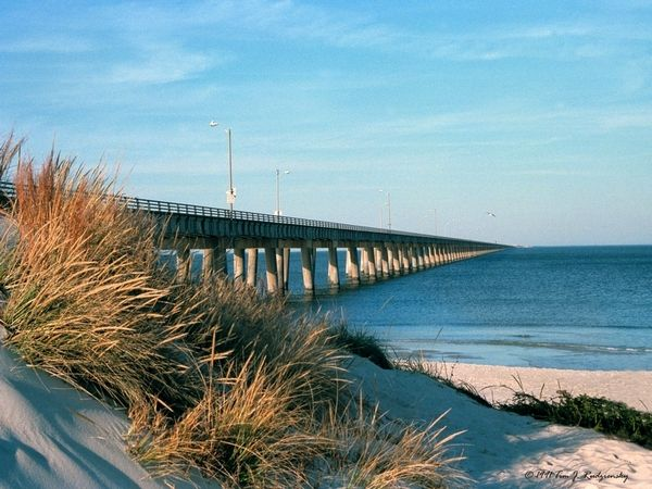 Chic's Beach and Chesapeake Bay Bridge, Virginia Beach, Virginia