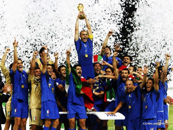 The #Italian national football team celebrates winning the 2006 World Cup in #Germany.