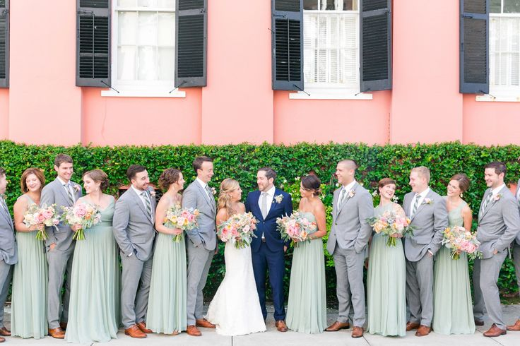 Sage/Mint Bridesmaid Dresses + Groomsmen in Gray with Groom in Navy Blue | Pastel Mint, Coral, Blush + Gold Patriots Point Pavilion Wedding by Charleston wedding photographer Dana Cubbage Weddings