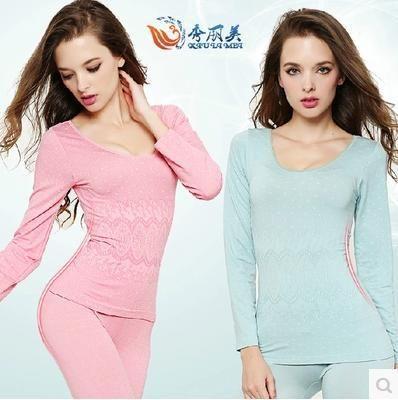 Бесплатная доставка зима бамбук модальные тонкий кальсоны подъемная сила женщины термобелье пижамы Set Top + брюки пижамы