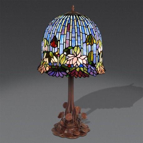 Lampada da Tavolo Tiffany PAZZESCA, con lume azzurro / blu / viola, con fiori colorati. #lampadetiffany #decorazioneinterni #arredamento #casa #homedesign #tiffanylamp #tiffanylamps