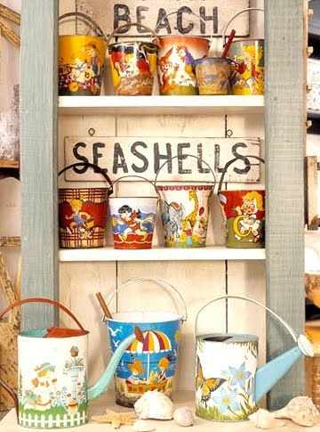I would love to have a select collection of vintage tin pails/buckets like these on display too.
