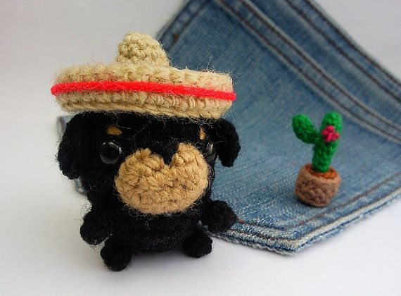 Amigurumi Dogcrochet Rottweiler with mexican hat and by Owlystore
