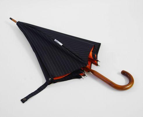 London Undercover England Navy Pinstripe and Orange Umbrella