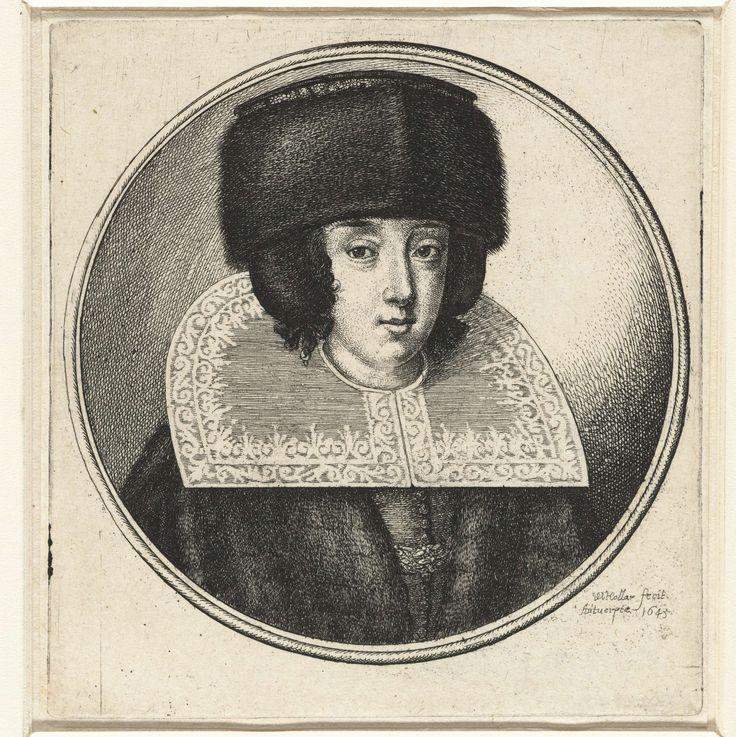 Vrouw met stijve kanten kraag en bontmuts, Wenceslaus Hollar, 1645