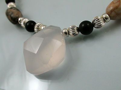 Faceted-Rosequartz-Pink-Opal-Nuggets-Sterling-Silver-Necklace-Hand-Made