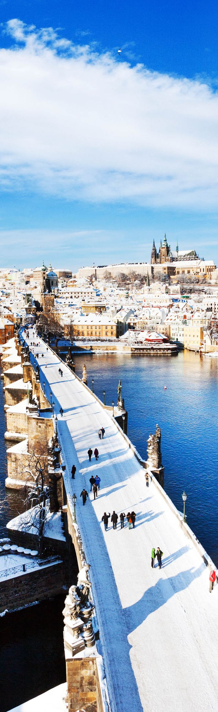 Prague castle and Charles bridge, Prague (UNESCO), Czech republic   |   The 20 Most Stunning Fairytale Castles in Winter