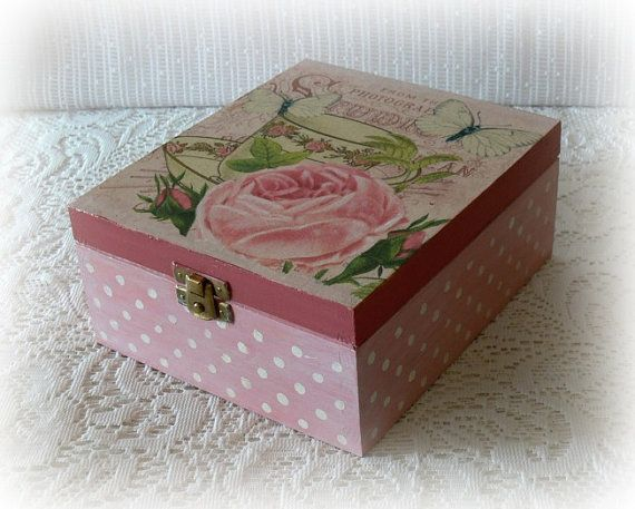 Caja de té madera de estilo vintage caja de té por CarmenHandCrafts