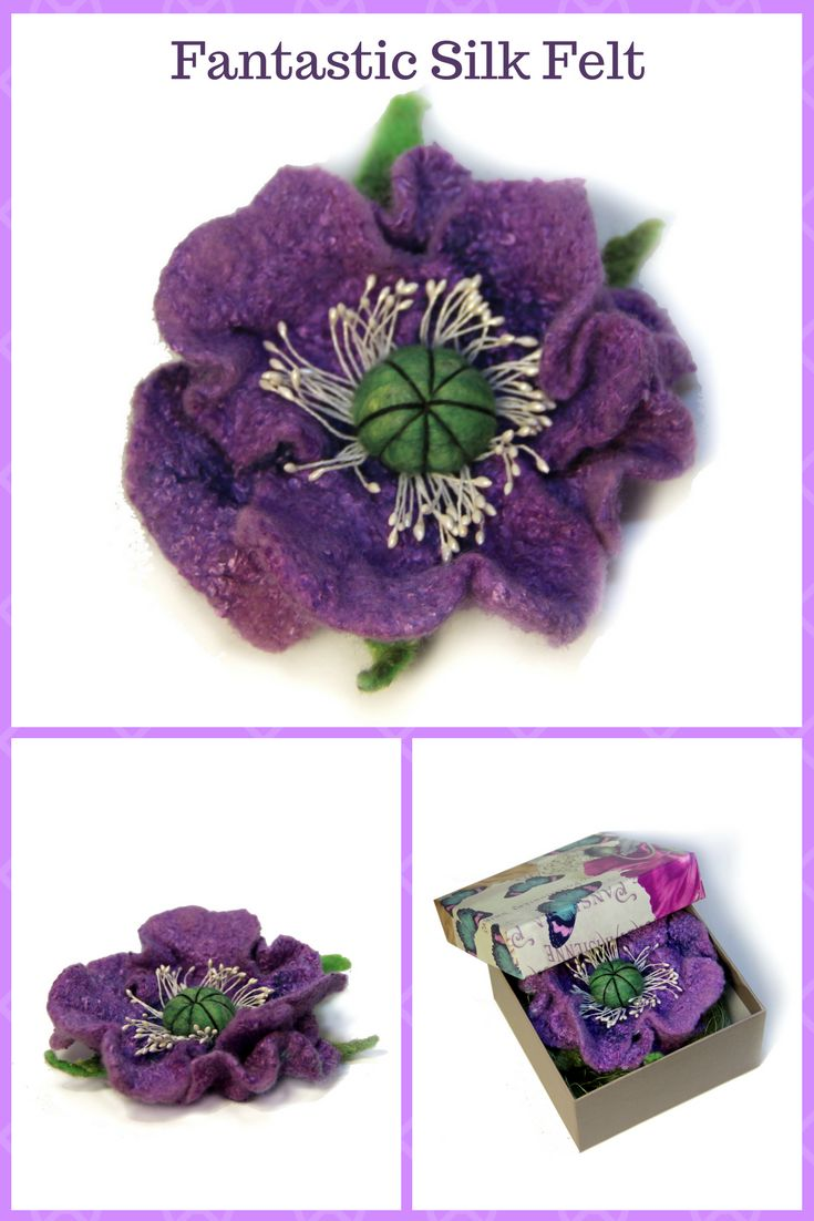 Original handmade flower felted from soft merino wool by using traditional technique of wet-felting and decorated with silk fibers.  Brooch size: 10 cm (4 inch ) #accessories #felt #feltedbrooch #poppy #irinaorlova #motherdaygift
