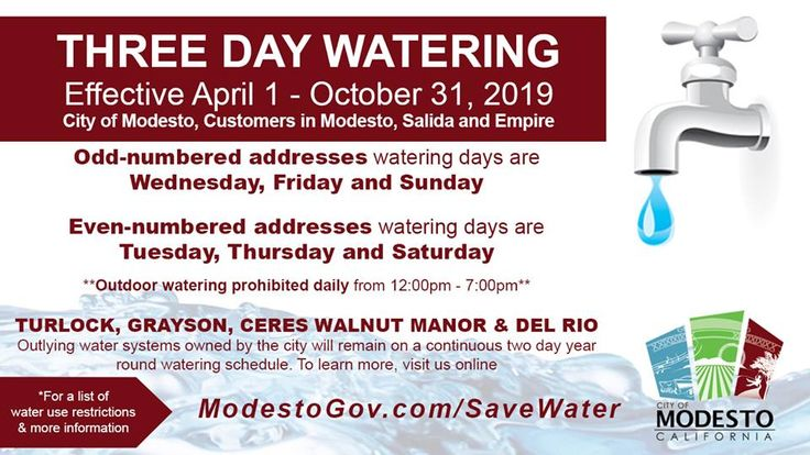 Modesto Watering Change Effective April 1 2019 Three Day Watering Effective April 1 October 31 2019 Waterwednesday April 1st October