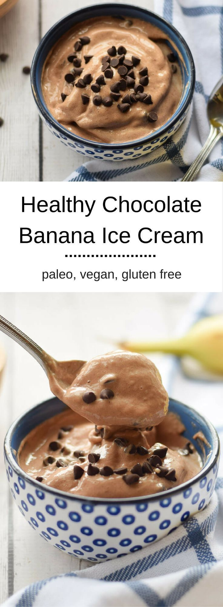 Healthy Chocolate Banana Ice Cream - satisfy that sweet tooth with a healthy treat you won't regret in the morning.   Made with only three ingredients!  {gluten free, whole30, paleo, vegan}