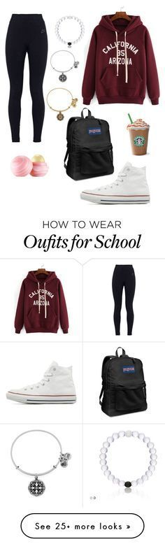 """Peace out!!!!✌✌going to school"" by mira-81k on Polyvore featuring NIKE, Converse, Eos, JanSport and Alex and Ani"