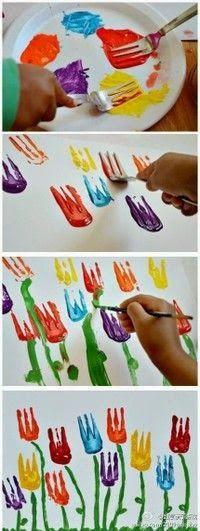 tulpen stempelen en schilderen met een vork