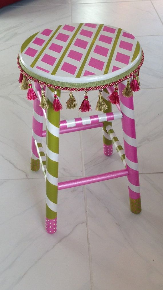 Stool, hand painted, whimsical MacKenzie Childs style, pink and green stool