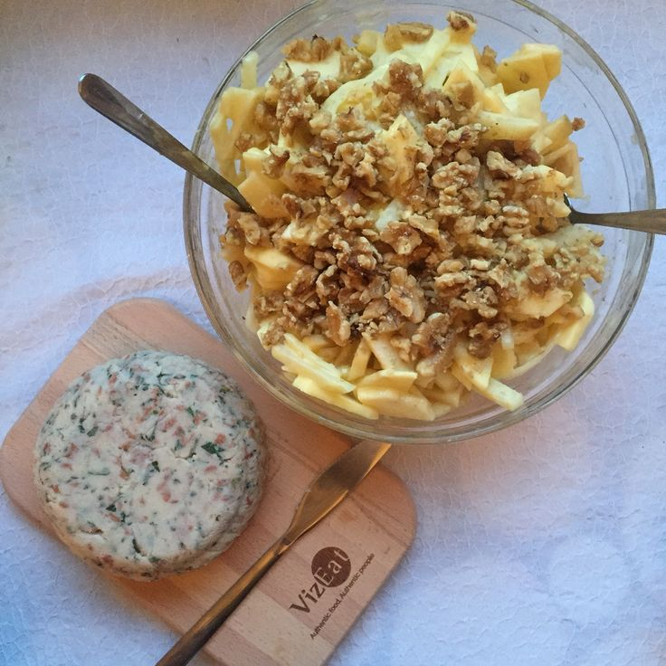 celeryrave apple and walnut salad, potators and beans paté