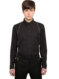 GIVENCHY - ZIPPED COTTON POPLIN SHIRT - LUISAVIAROMA - LUXURY SHOPPING WORLDWIDE SHIPPING - FLORENCE
