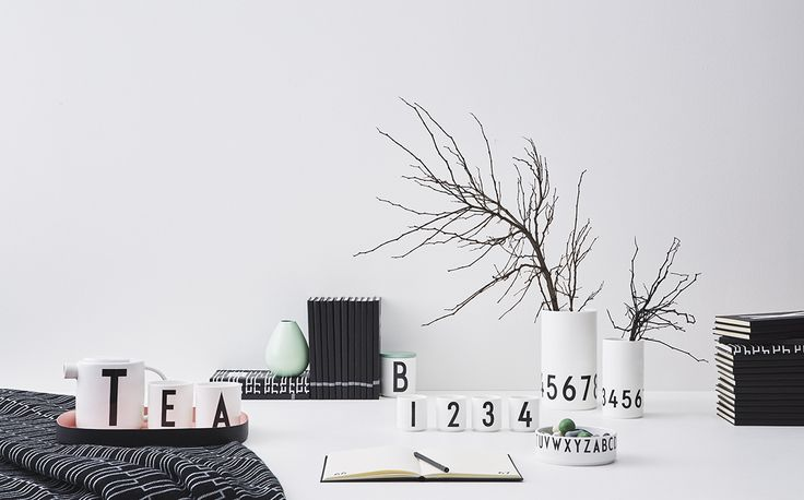 Home office design and Danish Design interior. In Monochrome design. Typography on porcelain and stationery: AJ Vintage ABC.