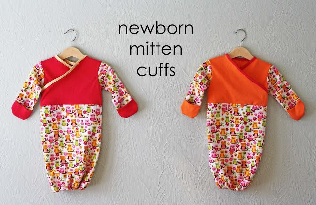 Running With Scissors: free pattern +Tutorial: Baby Sleep Sack with newborn mitten cuffs  - cross over front without zipper