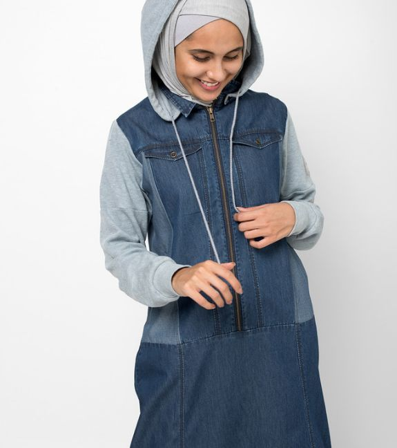 Soft Denim Hooded Jilbab | SilkRoute | My Online Souk | www.myonlinesouk.co.za