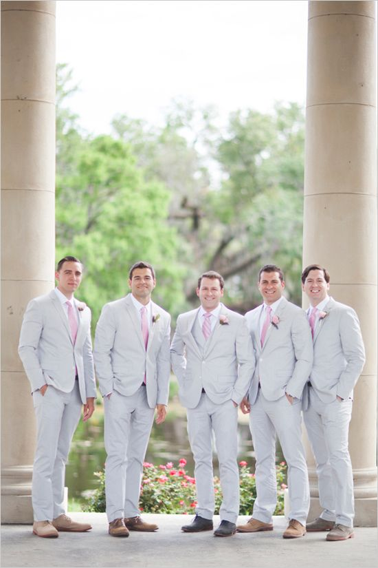 light grey and pink groomsmen looks #groomsmen #groomsmenlook #weddingchicks http://www.weddingchicks.com/2014/04/11/pink-party-wedding/
