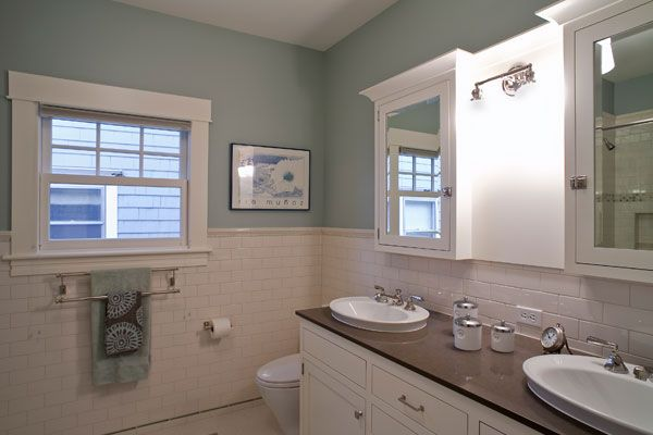 Baths Craftsman Design- I like the solid counter with the double sink and vanity.