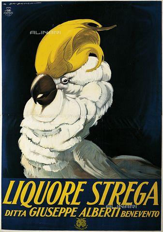 Manifesto pubblicitario del liquore Strega di Marcello Dudovich (1878-1962)