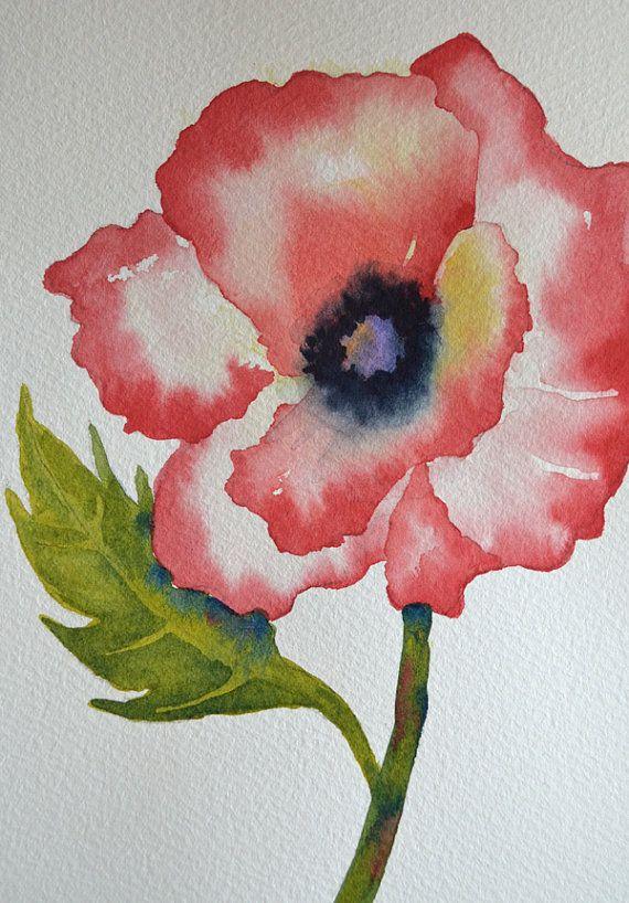Art, Fine Art-Red Poppy-Small Original Watercolor Painting of Flower via Etsy