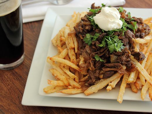 Home Skillet - Cooking Blog: Duck Fat Fries smothered in Beef, Onion, Beer Gravy - a Meat and Potatoes Creative Cooking Crew Challenge