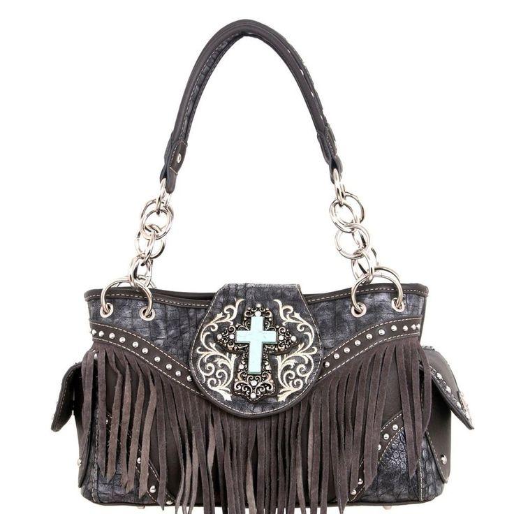 Montana West Handbag spiritual Western Fringe Bag Purse Grey #MontanaWest #ShoulderBag