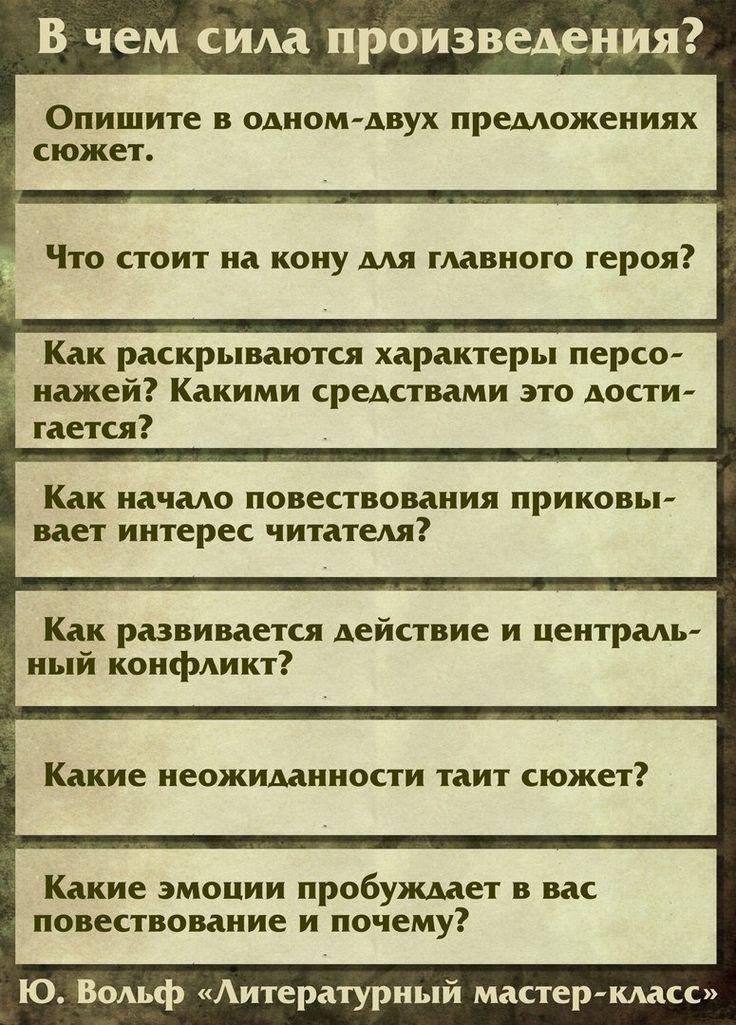"""В чем сила произведения (Ю.Вольф """"Литературный мастер-класс"""")"""