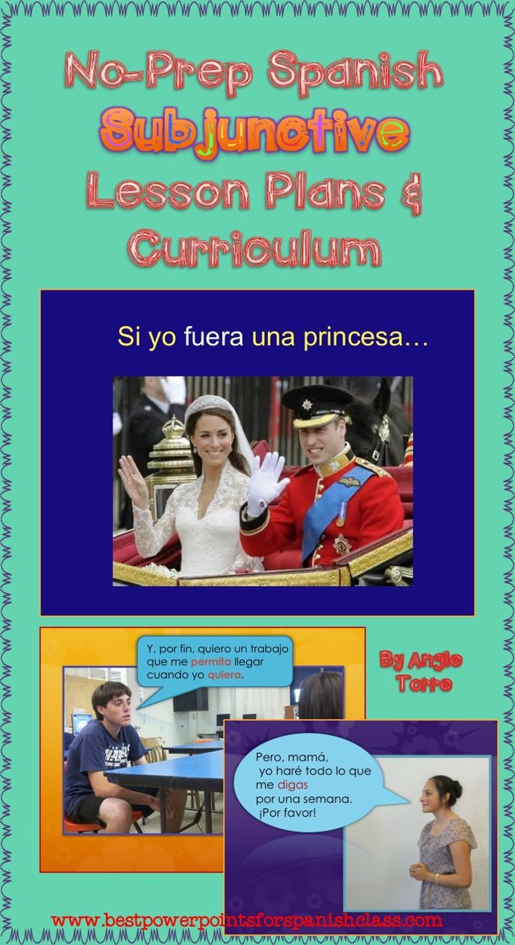 Spanish Subjunctive No-Prep Lesson Plans and Curriculum by Angie Torre does all the work for you and requires no textbook although it can supplement any text you use. This curriculum covers independent vs. dependent clauses, the present subjunctive, the present perfect subjunctive, the two forms of the imperfect subjunctive, the pluperfect subjunctive and all the uses of each. It explains when to use the indicative, the subjunctive,the infinitive and clarifies the different meaning of each…