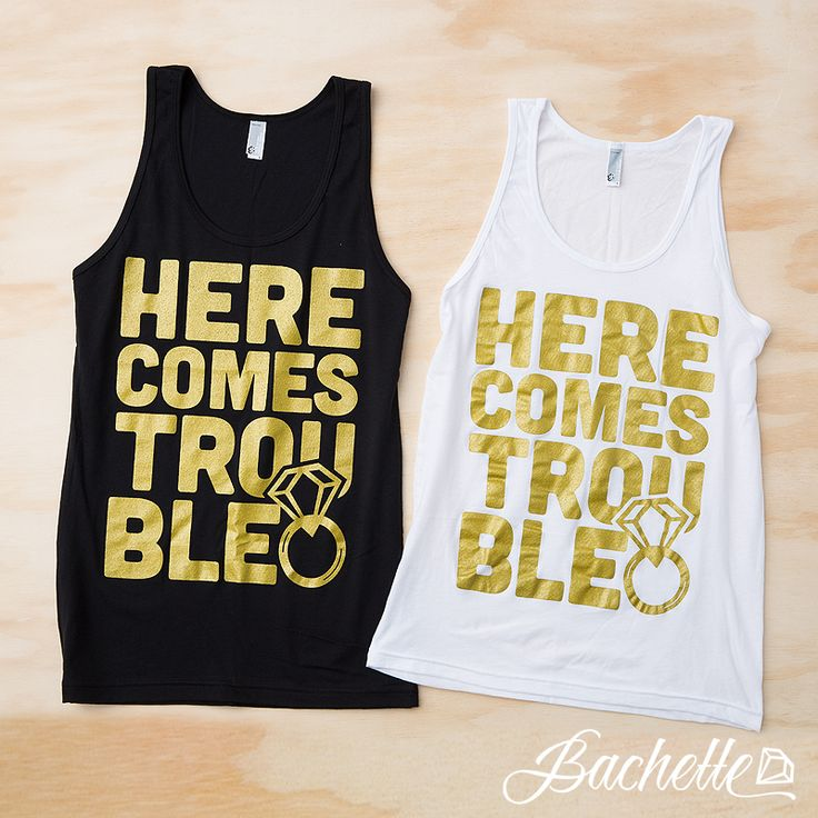 Super cute Here Comes Trouble bachelorette party tank tops for the bride, maid of honor, and bridesmaids by Bachette