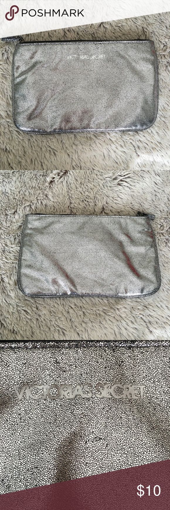 Victoria's Secret Large Cosmetic Bag❤️New Never used Victoria's Secret make up bag in crackled silver. Large enough to be used as a clutch too. 11x7 inches. Black interior. Victoria's Secret Bags Cosmetic Bags & Cases