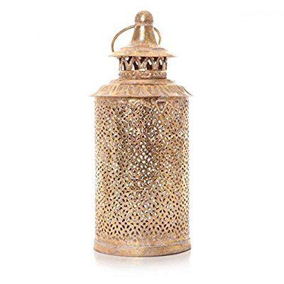 Marokkanische Gold Hurricane Laterne Garten Glas Säule Teelichthalter 27cm