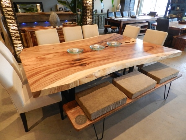 Freeform Dining Table In Suar Wood With Metal Legs