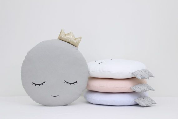 Handmade decorative full moon pillow with a crown - gray with a gold crown or white, light pink light blue with a silver crown. Fabric 100% cotton